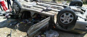 ۹ نفر مجروح شدند ، واژگونی خودروی ۴۰۵ در محور کلاله با ۱۰ سرنشین